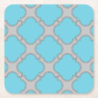 Quatrefoil blue and gray square paper coaster