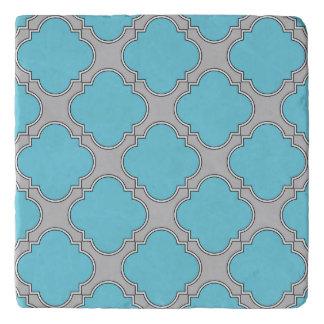 Quatrefoil blue and gray trivet