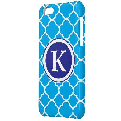 Quatrefoil blue & white custom initial, monogram case for iPhone 5C