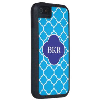 Quatrefoil blue & white monogram iphone 5/5s case