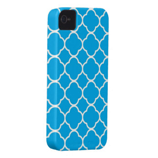 Quatrefoil blue & white pattern blackberry bold Case-Mate iPhone 4 cases