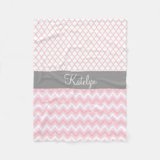 Quatrefoil Chevron Pattern Pink Gray | Monogram Fleece Blanket