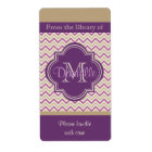 Quatrefoil Chevron Trendy Orchid Purple Book Plate