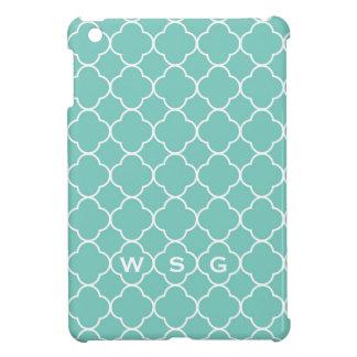 Quatrefoil clover pattern blue teal 3 monogram iPad mini cases