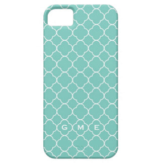 Quatrefoil clover pattern blue teal 3 monogram iPhone 5 case