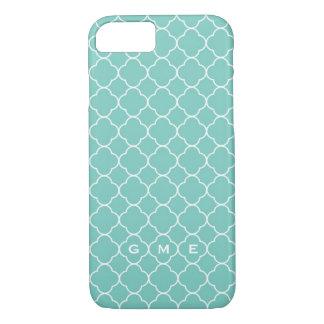 Quatrefoil clover pattern blue teal 3 monogram iPhone 8/7 case