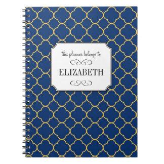 Quatrefoil clover pattern navy wedding planner notebook