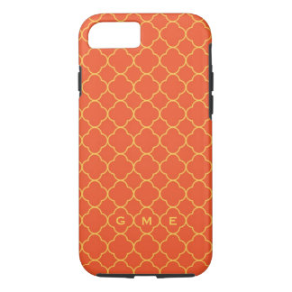 Quatrefoil clover pattern orange yellow 3 monogram iPhone 8/7 case