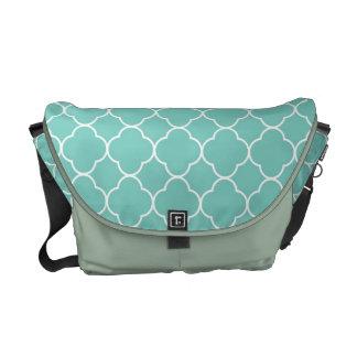 Quatrefoil clover pattern teal blue fashion messenger bag