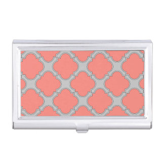 Quatrefoil coral and gray business card holder