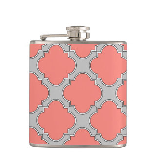 Quatrefoil coral and gray hip flask