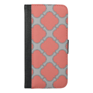 Quatrefoil coral and gray iPhone 6/6s plus wallet case