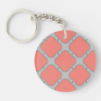 Quatrefoil coral and gray key ring