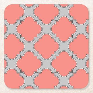 Quatrefoil coral and gray square paper coaster