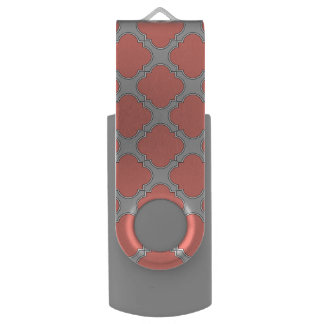 Quatrefoil coral and gray USB flash drive