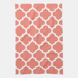 Quatrefoil Coral Kitchen Towels