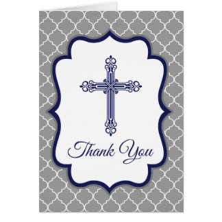 Quatrefoil Cross Baptism   Christening Thank You Card