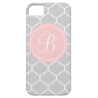 Quatrefoil Custom Monogram in Gray and Pink Case For The iPhone 5