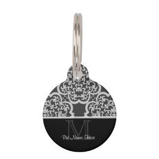 Quatrefoil Damask (Grey) Pet Tag