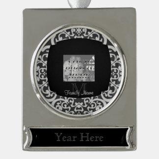 Quatrefoil Damask (Grey) Silver Plated Banner Ornament