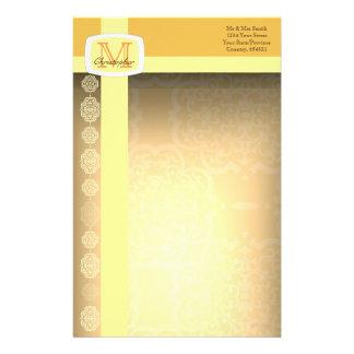 Quatrefoil Damask (Yellow) Stationery Paper
