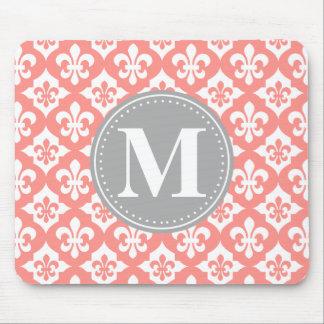 Quatrefoil Fleur-De-Lis Coral Pink Grey Monogram Mouse Pad