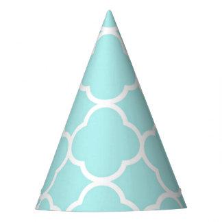 Quatrefoil geometric modern elegant blue party hat