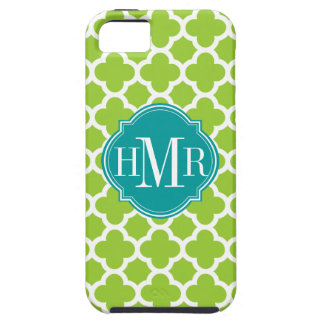 Quatrefoil Green and White Pattern Monogram iPhone 5 Cases