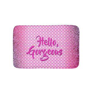 Quatrefoil Hello Gorgeous Girly Pink Glitter Bath Mat