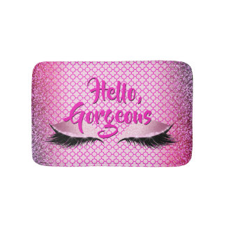 Quatrefoil Hello Gorgeous Makeup Girly Pink Bath Mat