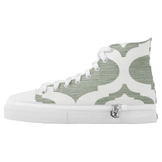 Quatrefoil Hightop Sage and White Printed Shoes