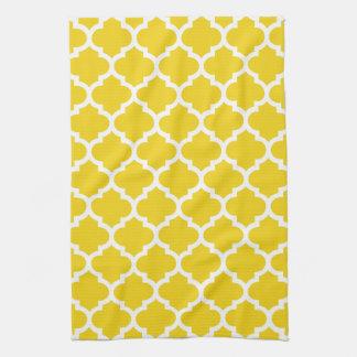 Quatrefoil Lemon Yellow Kitchen Towels