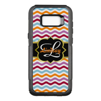 Quatrefoil monogram and colourful retro waves OtterBox commuter samsung galaxy s8+ case