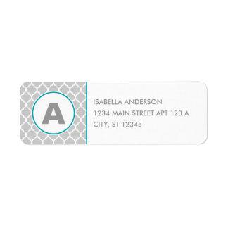 Quatrefoil Monogram in Gray and Blue Return Address Label