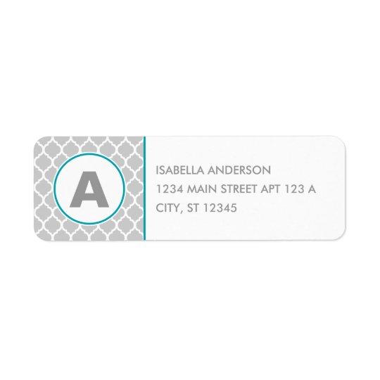 Quatrefoil Monogram in Grey and Blue Return Address Label