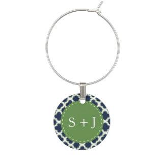 Quatrefoil Monogram Navy Blue & Green Wedding Wine Charm