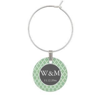 Quatrefoil Monogrammed Wedding Grey Green White Wine Charm
