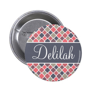 Quatrefoil Name Pink Purple Gray 6 Cm Round Badge