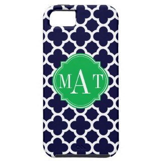 Quatrefoil Navy Blue and Kelly Green Monogram Case For The iPhone 5
