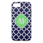 Quatrefoil Navy Blue and White Pattern Monogram Case-Mate iPhone Case