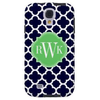 Quatrefoil Navy Blue and White Pattern Monogram Galaxy S4 Case