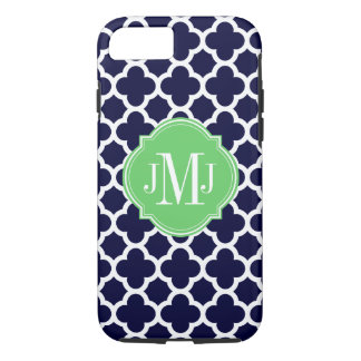 Quatrefoil Navy Blue and White Pattern Monogram iPhone 7 Case