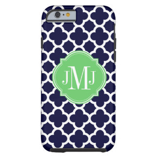 Quatrefoil Navy Blue and White Pattern Monogram Tough iPhone 6 Case