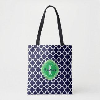 Quatrefoil Navy Blue Green Monogram Name Tote Bag
