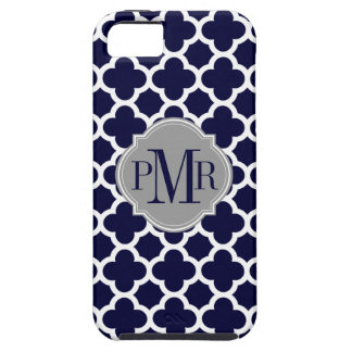 Quatrefoil Navy Blue White Pattern Gray Monogram iPhone 5 Covers
