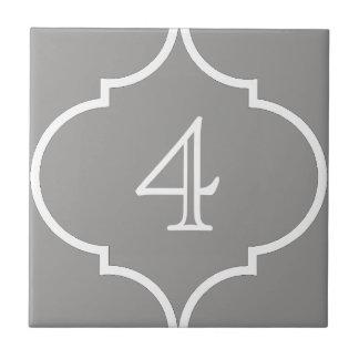quatrefoil number tile grey