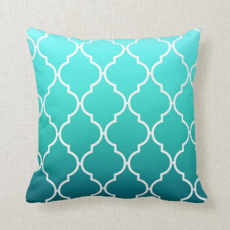 Quatrefoil Ombre Geometric | aqua pool Cushion