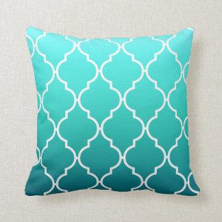 Quatrefoil Ombre Geometric | aqua pool Throw Pillow