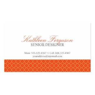 Quatrefoil orange yellow clover modern pattern business card template