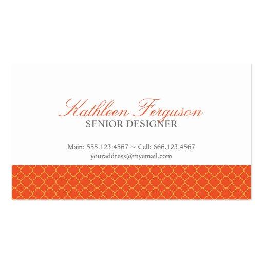 Quatrefoil orange yellow clover modern pattern business card template